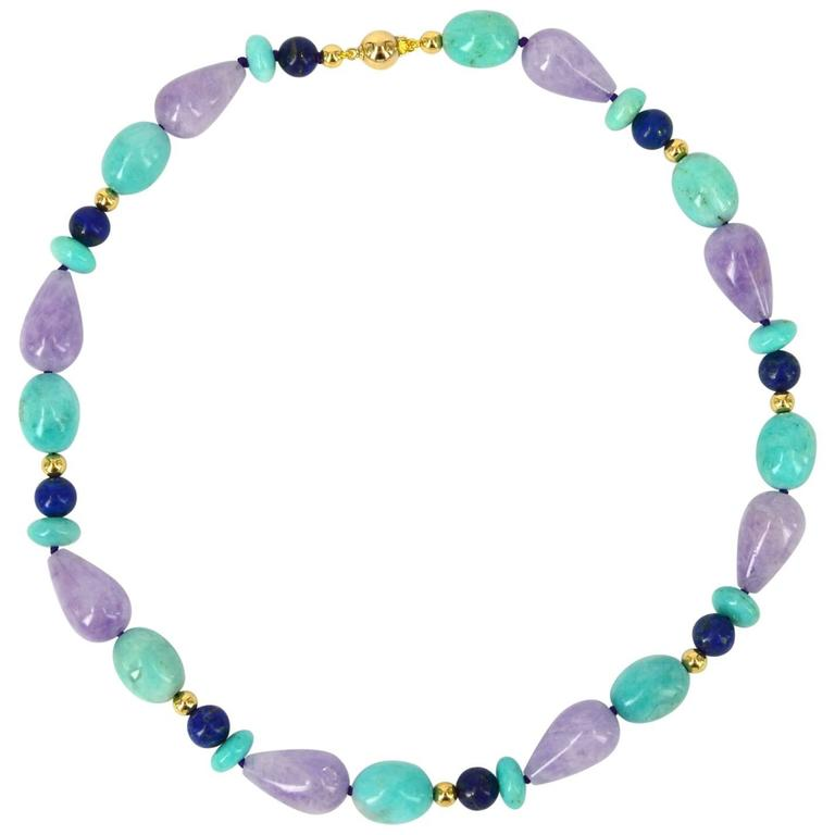 Decadent Jewels Amazonite Amethyst Lapis Lazuli Gold Bead Necklace