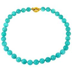 Peruvian Amazonite Round Bead Gold Necklace