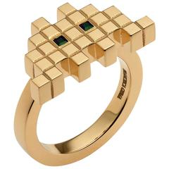 Francesca Grima Emerald Yellow Gold Invader I Ring
