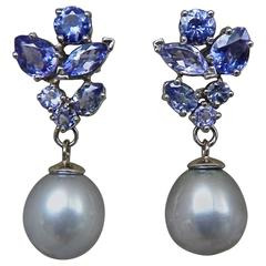 Gorgeous Classic Tanzanite Pearl White Gold Dangling Drop Earrings