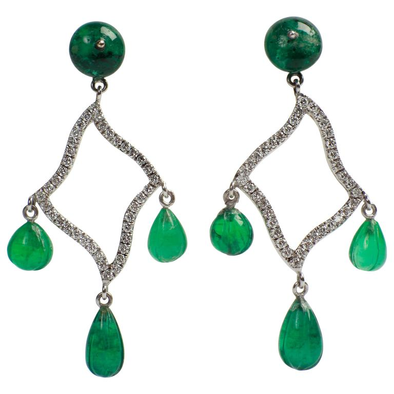 Marion Jeantet Emerald Beads and Diamonds Earrings For Sale