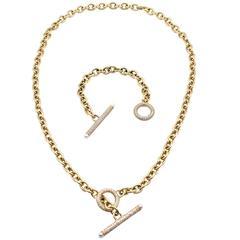 Oscar Heyman Diamond Gold Necklace and Bracelet
