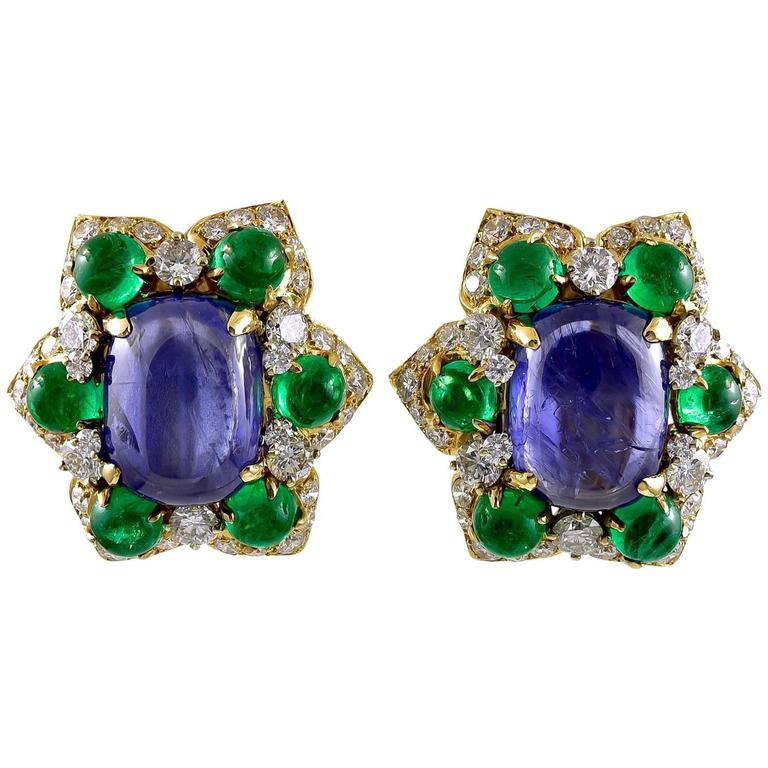 Bulgari Sapphire Emerald Gold Earclips