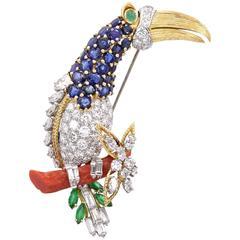 Diamond Gem Set Toucan Clip Brooch