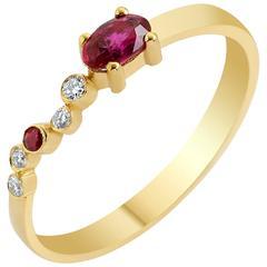 Seraph Wing Ruby Diamonds Yellow Gold Ring