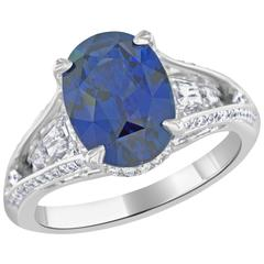 Bez Ambar 5.16 Carat Oval Sapphire and Diamond Platinum Ring