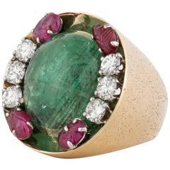 Retro Emerald Diamond and Ruby Ring
