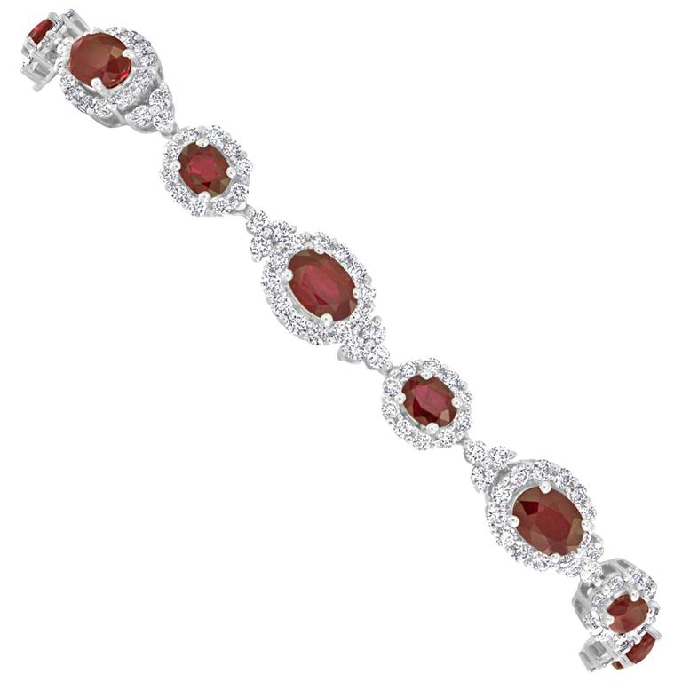 11.14 Carat Burmese Ruby and Diamond Gold Bracelet