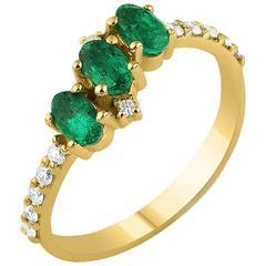 Diamonds Zambian Emeralds yellow gold Seraphina Trio Ring