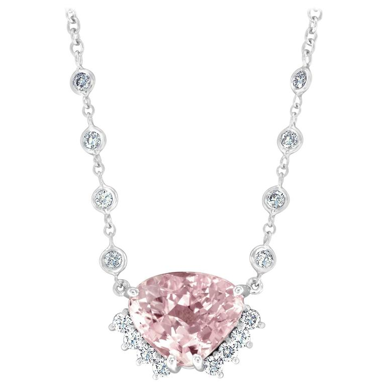 Kunzite Diamond White Gold Necklace 1