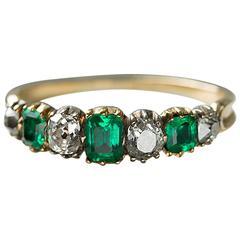 Georgian Emerald Diamond Gold Half Hoop Ring