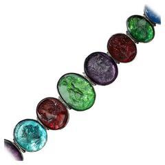 Victorian Multicolor 'Tassie' Intaglios Silver Bracelet