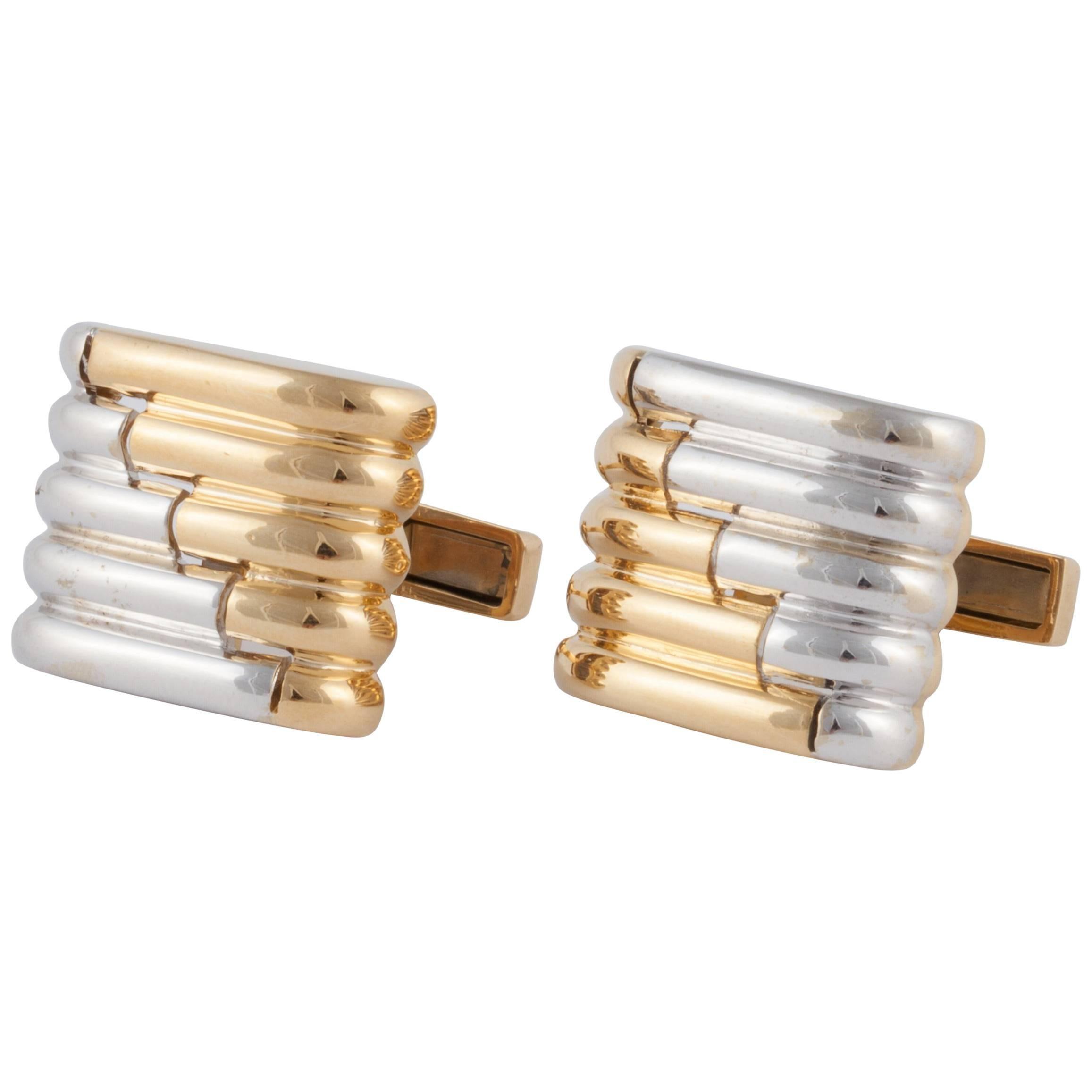 Emis 18K Two Tone Gold Cufflinks