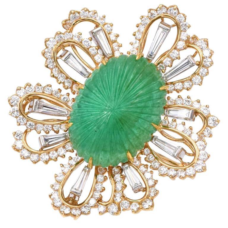 1970s Oscar Heyman Emerald Diamond Platinum Brooch
