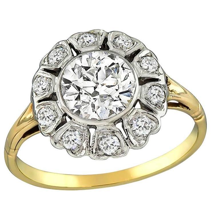 GIA Certified 1.31 Carat Diamond Gold Engagement Ring