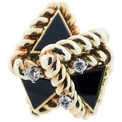 Modernist Onyx Diamond Ring