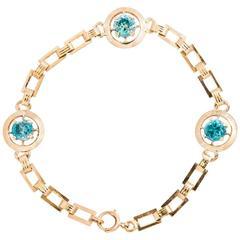 Retro 4.50 Carat Blue Zircon Gold Bracelet