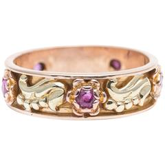 Retro Floral Ruby Yellow and Rose Gold Wedding Band Ring