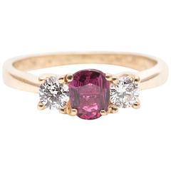 0.90 Carat Ruby Diamond Yellow Gold Three-Stone Ring