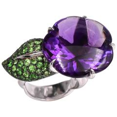 Chanel Amethyst and Tsavorite Ring