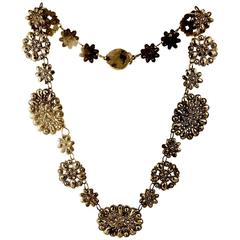 Antique Cut Steel Necklace with a Floral Motif