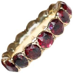 Georgian Garnet Gold Eternity Band Ring