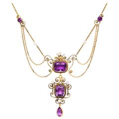 Edwardian Amethyst Pearl Yellow Gold Festoon Necklace