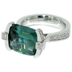 Lizunova Indicolite Tourmaline Diamond White Gold Cluster Ring
