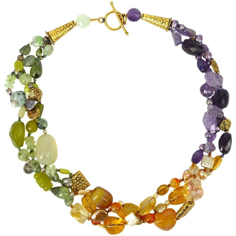 Prehnite Citrine Amethyst Three Strand Gold Bead Necklace