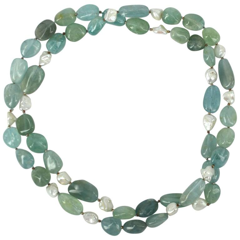 Aquamarine Keshi Fresh Water Pearls Silver Bead Necklace For Sale