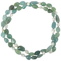 Aquamarine Keshi Fresh Water Pearls Silver Bead Necklace
