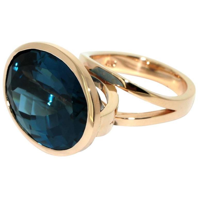 Lizunova London Blue Topaz Rose Gold Cocktail Ring
