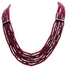 Gold Diamond Ruby Necklace