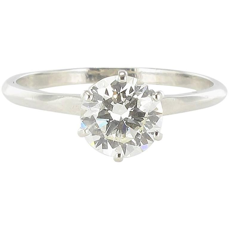 French 1.16 Carat Diamond Platinium Solitaire Engagement Ring