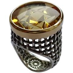 Star of David Ring Citrine Silver Gold