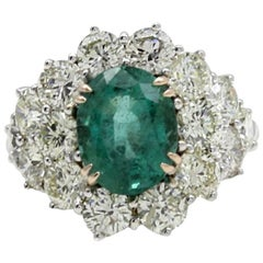 ct 3,90 Emerald and ct 5,35 Diamond Gold Ring
