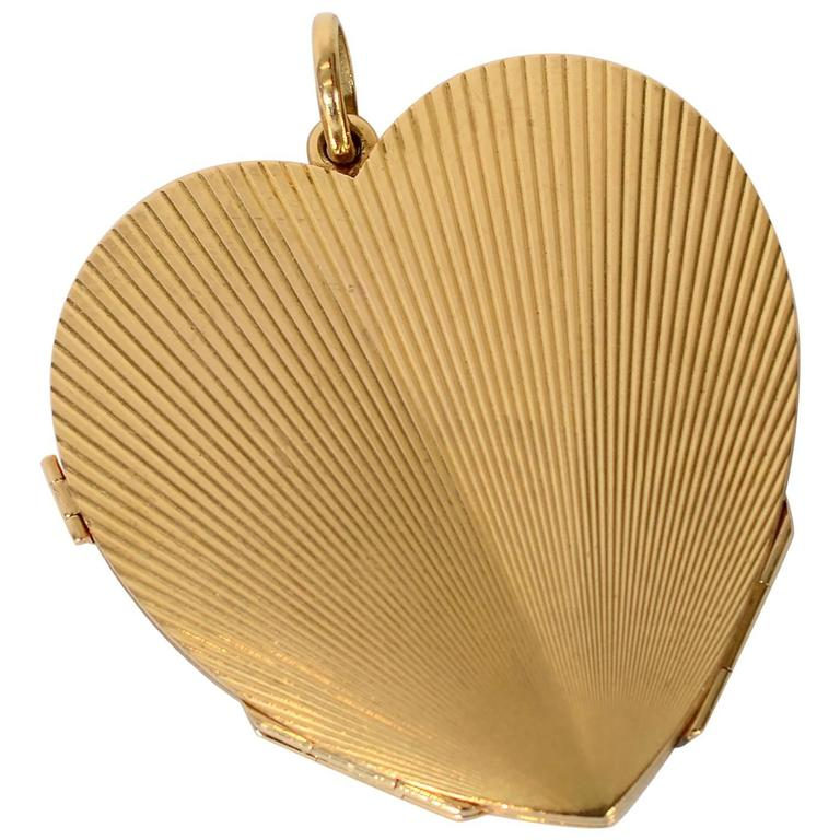 Retro Large Gold Heart Locket For Sale
