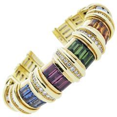Jeffrey Stevens Multi Gemstone Diamond Gold Cuff Bracelet