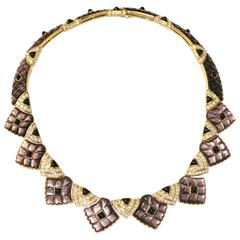 Mauboussin Mother-of-Pearl onyx diamond yellow gold Necklace
