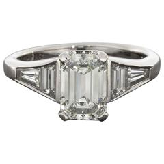 GIA Certified 1.53 Carat Emerald Cut Diamond Platinum Engagement Ring