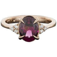 Rose Gold Oval Raspberry Rhodolite Garnet and Diamond Ring