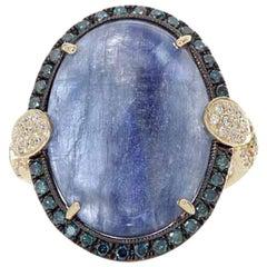Stunning Kyanite Blue Diamond White Diamond Yellow Gold Ring