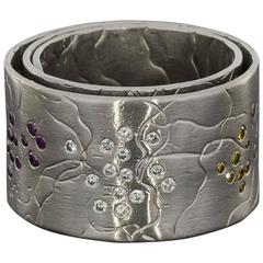 Norbert Muerrle Multi Colored Diamond Platinum Fireworks Recrolie Ring