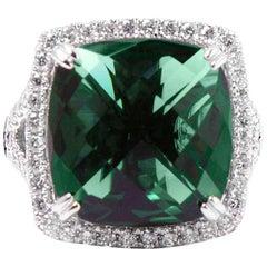 Amazing Green Quartz Diamond White Gold Ring