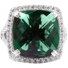 Amazing Green Quartz Diamond White Gold Ring