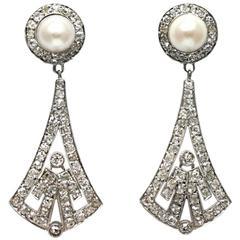 Art Deco Diamond and Pearl Earrings