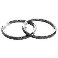 Black Diamond White Gold Inside-Out Hoop Earrings