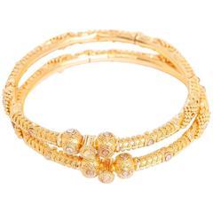 Bohemian Gemstone Yellow Gold Bangle Set