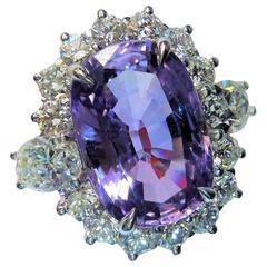 9.22 Carat Natural Violet Purple Sapphire Diamond Platinum Ring
