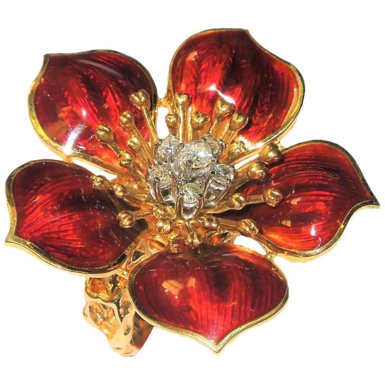Enamel Diamond Gold Flower Ring